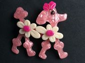 Pink Poodle Pin - Poodle Dog Brooch by Lea Stein Paris(Sold)